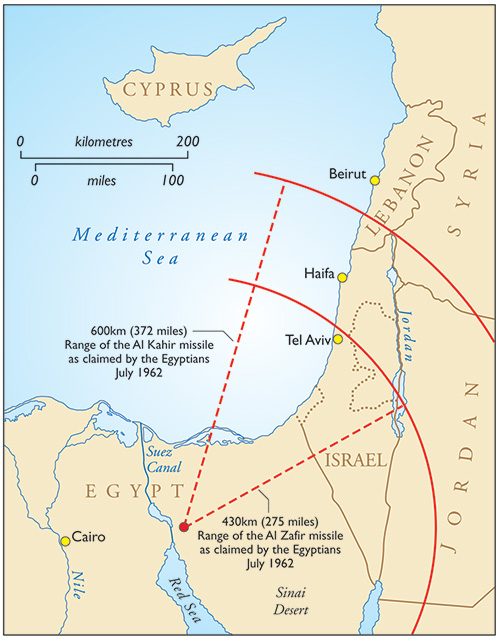 Map showing the distances claimed by Egypt for the reach of its rockets. Click to expand.