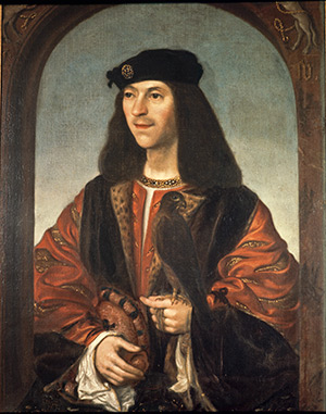 James IV with a falcon, a copy by Daniel Mytens of a contemporary portrait
