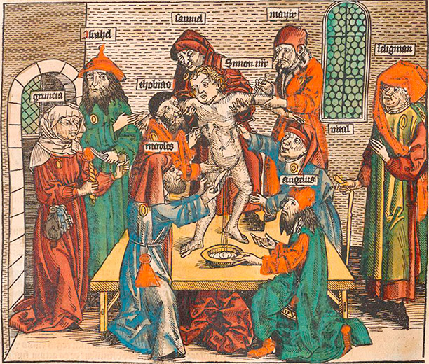 The ritual murder of Simon of Trent, in a woodcut by Michael Wolgemut from the Nuremberg Chronicle, 1493. AKG Images/Ullstein