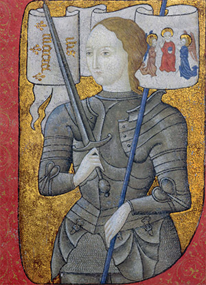 A woman in men's armour: Joan of Arc in a French illustration, 15th century. Bridgeman Art Library/Centre Historiques des Archives Nationales, Paris