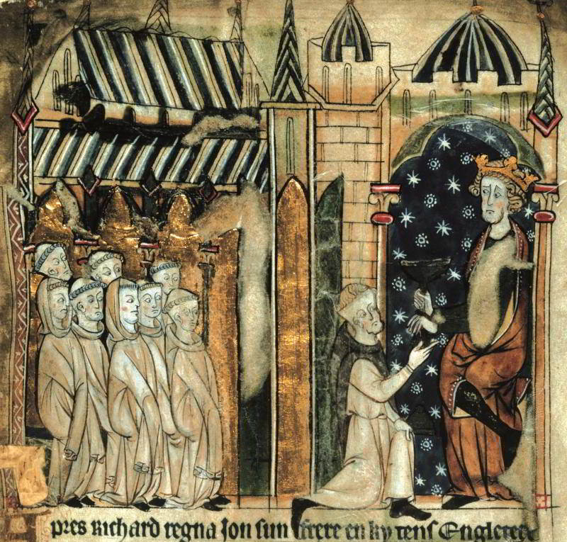 King John donates a chalice to a monastery, in an illustration from a miscellaneous chronicle of the 13th century. Click image to enlarge.