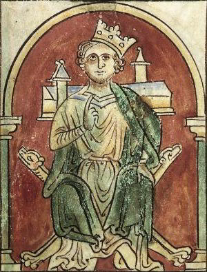 King John with an unsteady crown, depicted in a manuscript of 'Abbreviatio chronicorum Angliae', an abridged version of the chronicle of Matthew Paris, produced in St Albans 1250-59