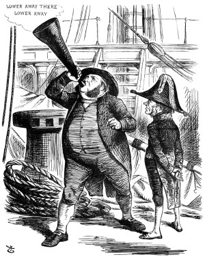'The Officious Passenger', a cartoon from 1866, shows Prime Minister Lord John Russell asking John Bright to stop trumpeting the Reform Bill.