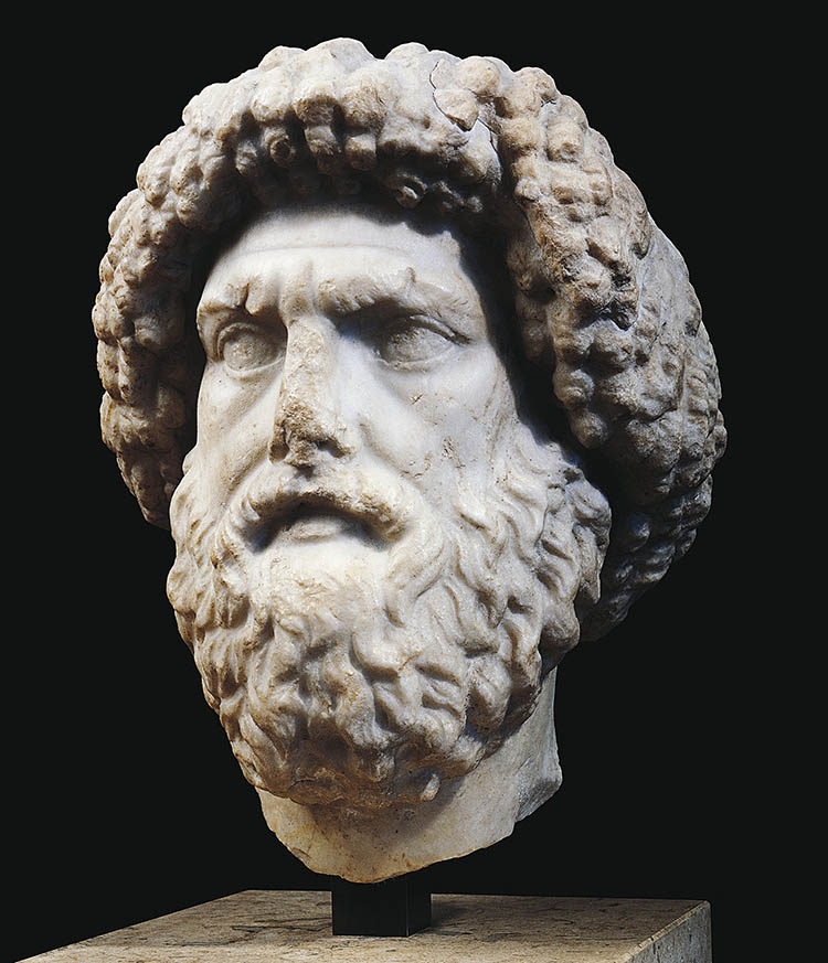 Marble head found in Algeria of Juba I, King of Numidia, 1st century BC.