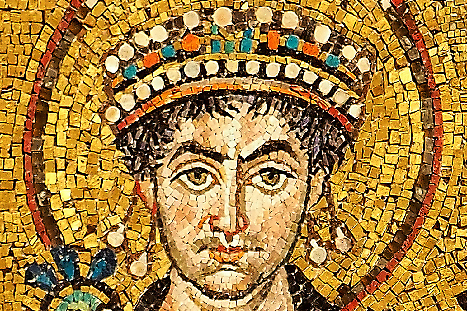 Detail of a mosaic depicting Justinian I in the Basilica of San Vitale, Ravenna.