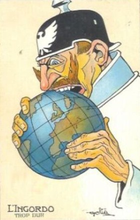 "French Propaganda postcard from WW1 showing Kaiser Wilhelm II biting into the world. The text reads ""The glutton – too hard."""