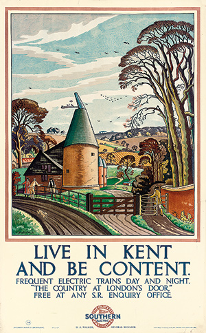 A Southern Railways poster from the 1930s lauds the 'Garden of England'.
