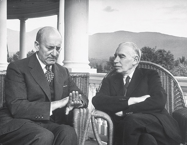 US Treasury Secretary Henry Morgenthau Jr (left) and Keynes in conversation at Bretton Woods, July 1944. Getty/Time Life/Alfred Eisenstaedt