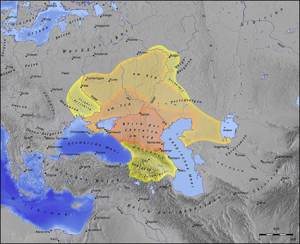 The Khazar Khaganate, between 650 and 850