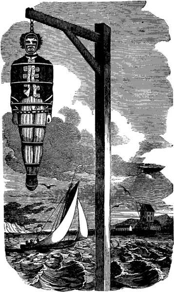 The body of William Kidd hangs in a gibbet at Tilbury Point, on the River Thames. Drawing from 'The Pirates Own Book', Charles Ellms, 1837