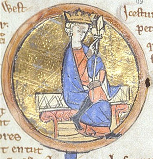 Depiction of Egbert from the Genealogical Chronicle of the English Kings, a late 13th century manuscript in the British Library.