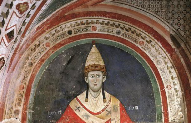 Pope Innocent III in a 13th-century fresco by Master Conxolus in Subiaco Abbey, Lazio, Italy