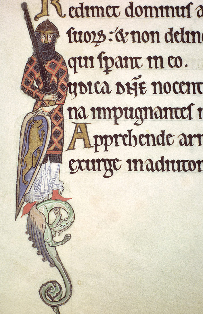 An illuminated knight from the Hunterian Psalter, c.1170.