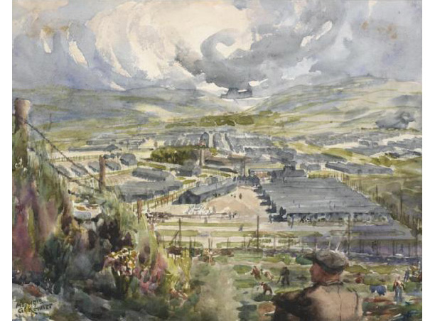 Knockaloe Internment Camp, on the Isle of Man, by George Kenner, 1918