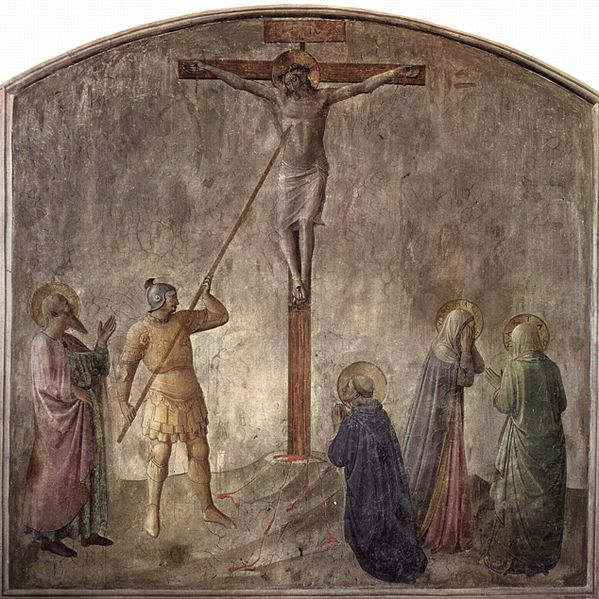 Jesus' side is pierced with a spear, Fra Angelico (c. 1440), Dominican monastery of San Marco, Florence