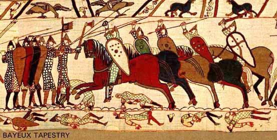 Norman cavalry attacks the Anglo-Saxon shield wall at the Battle of Hastings as depicted in the Bayeux Tapestry. The lances are held with a one-handed over-the-head grip.