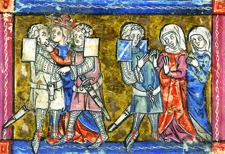 Lancelot and Guinevere kiss in the presence of Galahad and the Lady of Malohaut, Book of Lancelot, 1316.