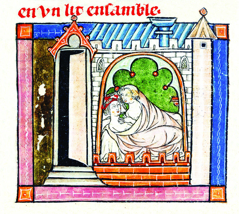 Lancelot and Guinevere in bed, from the Book of Lancelot of the Lake, French, 1316.