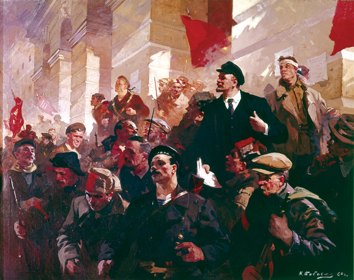 Lenin's address at the Finland Station, Petrograd, 1917, by Nicolai Babasiouk, 1960.