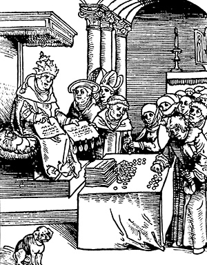 A woodcut of Pope Leo X selling indulgences from Passional Christ und Antichristi, a pamphlet by Philipp Melanchthon published in 1521.
