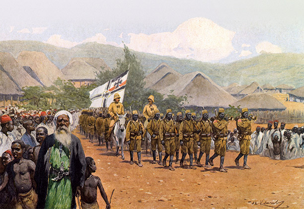 Colour print showing an Askari company marching under the German flag in German East Africa, 1913