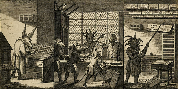 'The Art and Mystery of Printing Emblematically Displayed', a satire of three newspaper printing house activities performed by craftsmen with animal heads, 'Grub Street Journal', London 1732