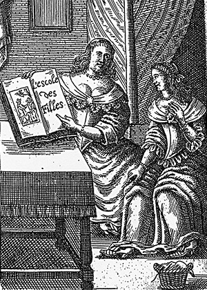 L'Escole des Filles, 1668. The French edition of a book in which an experienced older woman describes sexual practices to an innocent young maid.
