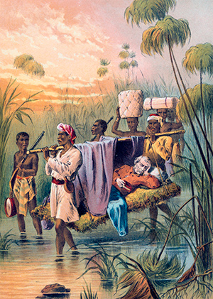 The Last Mile: Livingstone is carried off to die at his home in Ujiji, Tanganyika. Chromolithograph, c. 1880. AKG