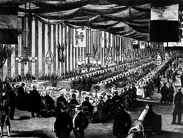 Train time tables: the banquet at Farringdon Street station to mark the opening of the Metropolitan Railway, from the 'Illustrated London News'. London Transport Museum