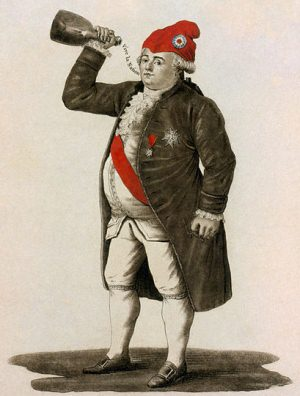 Louis XVI of France wearing a phrygian cap, drinking a toast to the health of the sans-culottes.