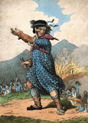 'The Leader of the Luddites', an English satirical print of 1812 shows an agitator in bonnet and dress encouraging workers wielding weapons beside a burning factory. George Mellor was the acknowledged leader of the Luddites in Yorkshire.
