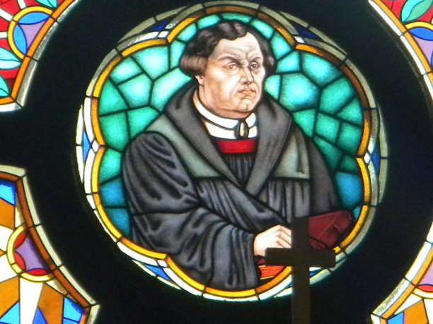 Martin Luther on glass in church of Martin Luther in Murska Sobota (Slovenia)