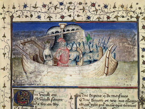 Mythical voyage: Brutus sets sail for Britain, a 15th-century illustration from Geoffrey of Monmouth's 'History of the Kings of Britain'. Bridgeman/Bibliotheque Nationale Paris