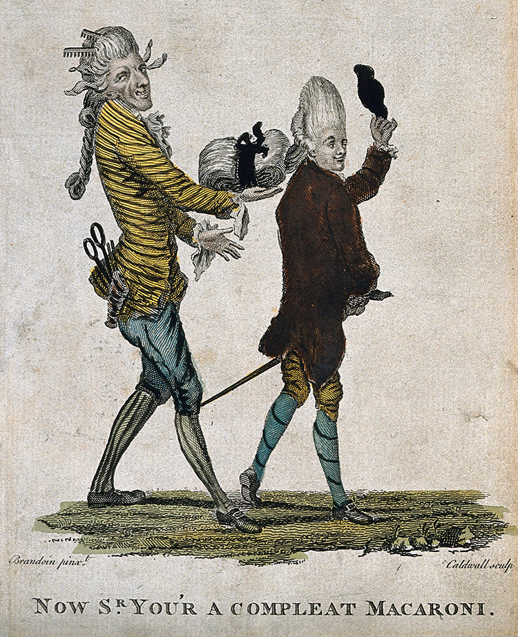 'Now Sr. you'r a compleat Macaroni', coloured engraving by J. Caldwell after M.V. Brandoin, 1733-1807.