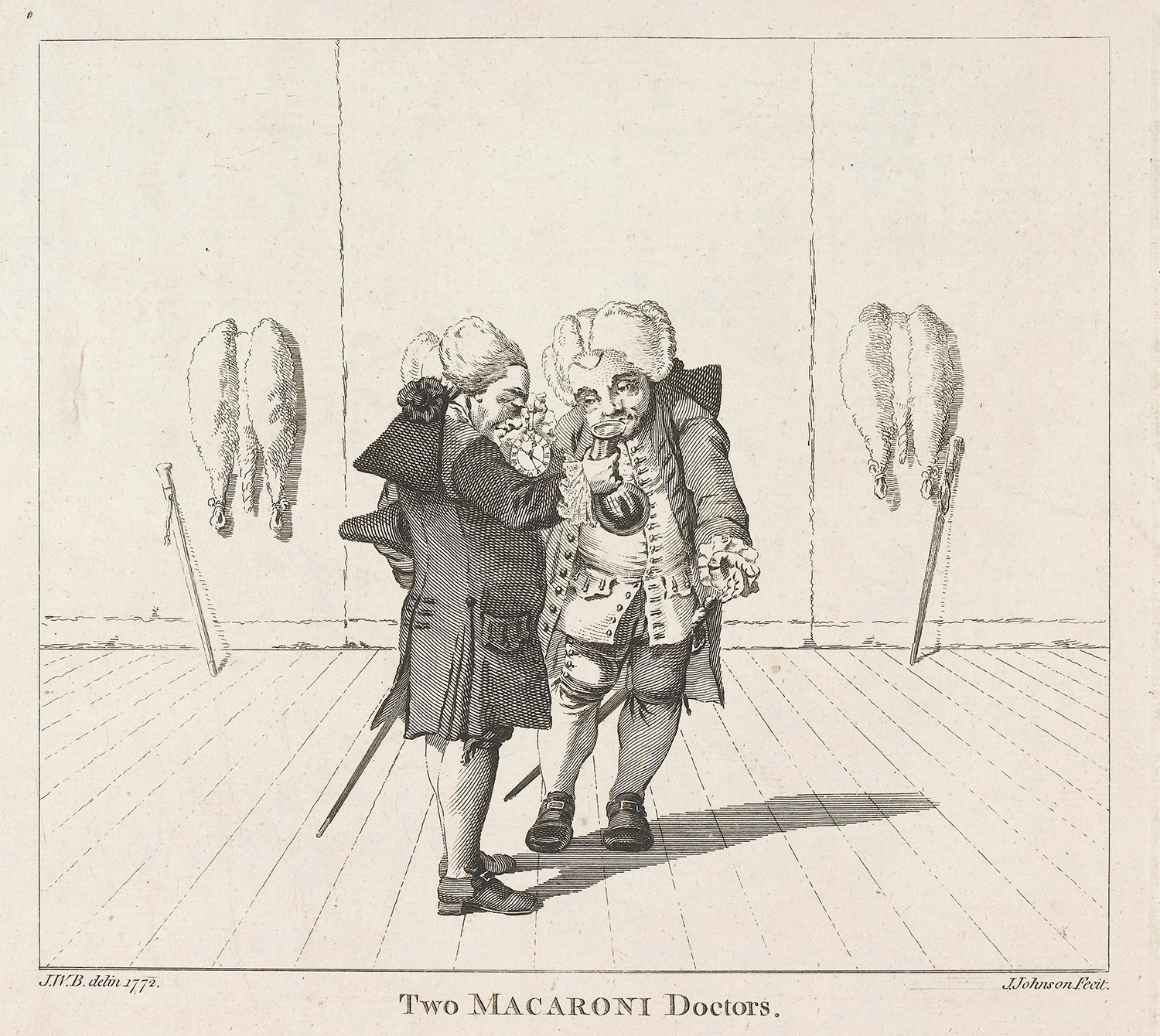 "Two physicians in ""macaroni"" fashions. Etching by J. Johnson after J.W.B., 1772."
