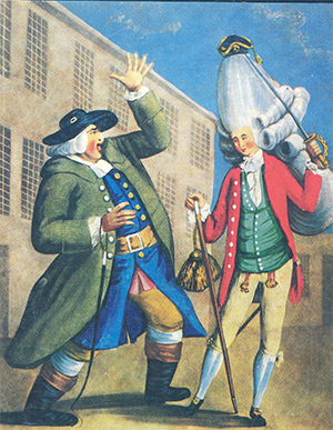 'Welladay! Is this my son Tom?', a cariature of macaroni fashions by Carrington Bowls, 1770.