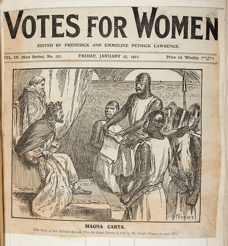 Cartoon captioned 'Magna Carta' in Votes for Women, 1911. British Library