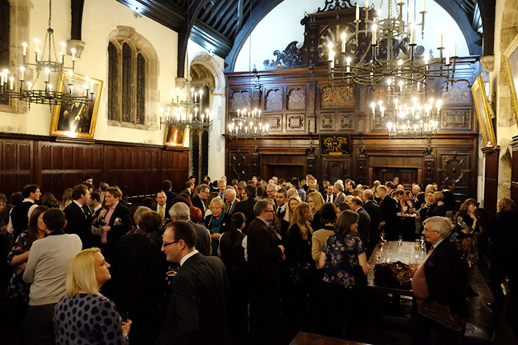 The crowd gathers at Lincoln's Inn Old Hall
