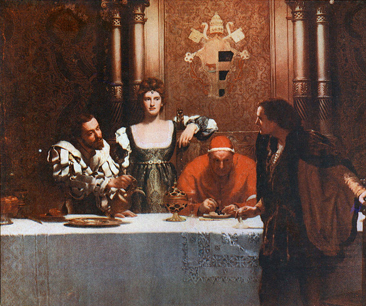 "Painting by John Collier, ""A glass of wine with Caesar Borgia"", from left: Cesare Borgia, Lucrezia, Pope Alexander, and a young man holding an empty glass."