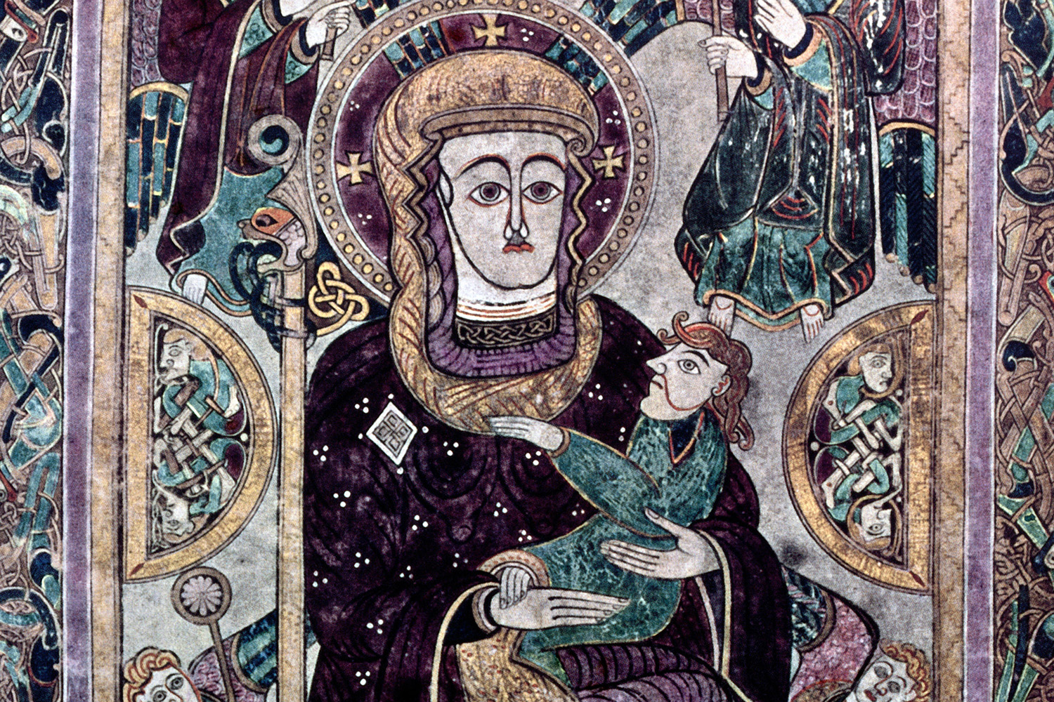 The Virgin and Child depicted in the Book of Kells, 9th century.