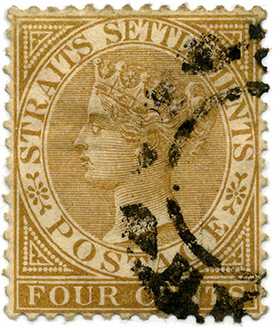 Postage stamp of the Straits Settlements from 1883.