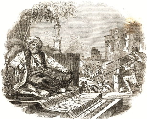 Muhammad Ali, the Ottoman viceroy of Egypt, looks on as Mameluke leaders are massacred on his orders, in a contemporary engraving.
