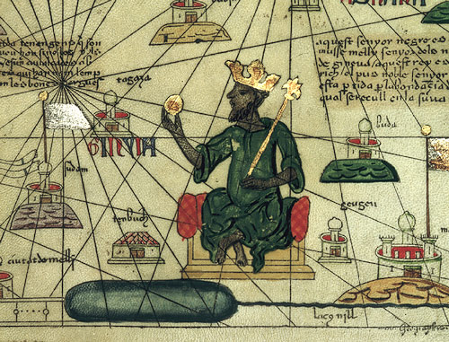 Depiction of Mansa Musa, ruler of the Mali Empire in the 14th century, from a 1375 Catalan Atlas of the known world (mapamundi), drawn by Abraham Cresques of Mallorca