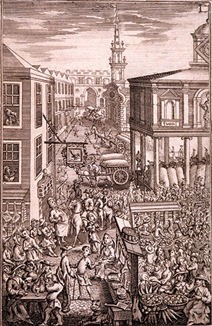 Borough High Street, c.1729, showing the open market with the church of St George the Martyr behind. Getty/Guildhall Library & Art Gallery