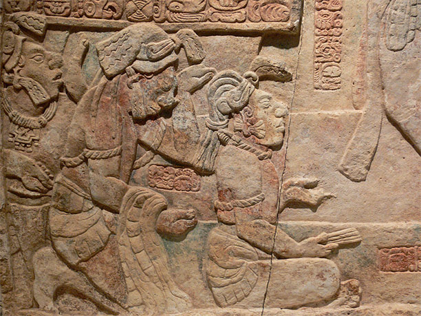 Presentation of captives to a Maya ruler, c. AD 785. Limestone with traces of paint