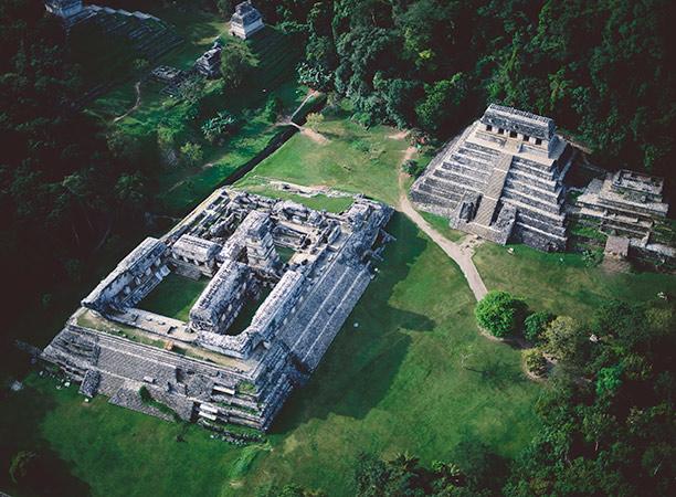 Maya ruins at Palenque. Corbis/George Steinmetz