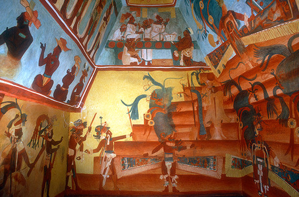 Reproduction in the National Museum of Anthropology in Mexico City of the murals at Bonampak, c. AD 800, which show Mayan bloodthirst. AKG Images/Bildarchive Steffens