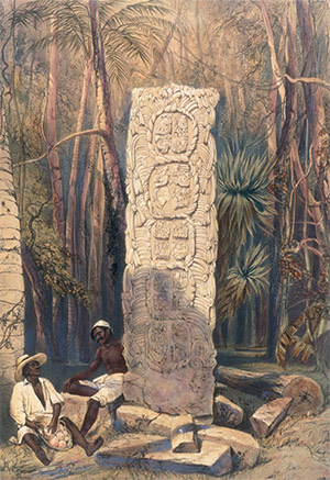 Stelae and monuments at Copan by Frederick Catherwood, reproduced in 'Incidents of Travel in Central America, Chiapas and Yucatan'. AKG Images