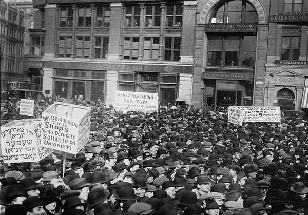 Crowd gathered in Union Square, New York City during the May Day parade, May 1, 1913