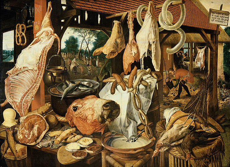 Painting called Flight into Egypt (the Meat Market), Pieter Aertsen, Dutch, 16th century. Copyright Bridgeman Images.